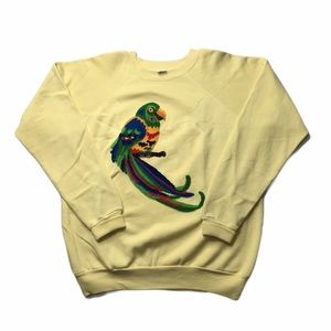 Vintage Yellow Embroidered Parrot Sweatshirt